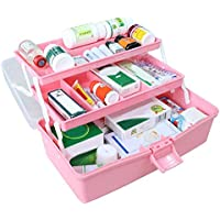 Yuan Ou Kit Primeros Auxilios Cajas para Primeros Auxilios Kit Plástico Plegable Medical Chest Organizador para Maquillaje S Azul