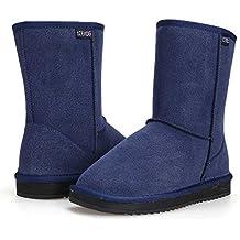 ZEARO Mujer Botas de Nieve de Piel Bota Plano Botines Calentar Pelaje Botas de Nieve Atada Zapatos Botas Clásicas para Mujer