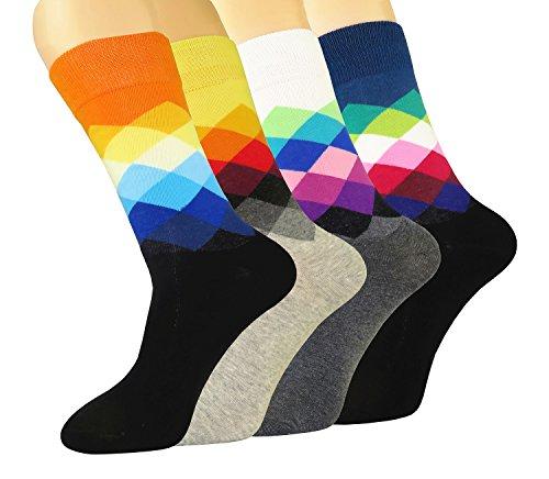 FULIER Herren 4 Pack Farbe Spaß Baumwolle Reich Kleid Socken, Gemütlich, Atmungsaktiv, Clever Design Kalb Socke UK 6-11 EUR 39-47 (Fashion1) - Kalb-socken Für über Männer-schwarz Das