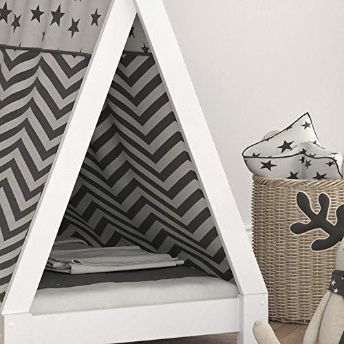 Vicco Kinderbett TIPI Kinderhaus Indianer Zelt Bett Kinder Holz Haus Schlafen Spielbett Hausbett 80×160 (Weiß) - 5