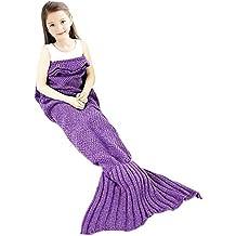 Cola de Sirena manta Niños niña, ZSZT Todas las Temporadas De Punto Cobijas, Saco de dormir, Aire Acondicionado Edredón, croché manta sofá de la sala 135 X 65 cm ( 53 x 25.6 pulgadas ) Púrpura