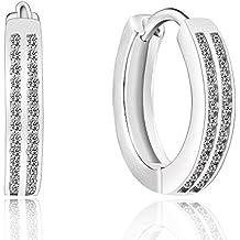 Plata de Ley 925plateada doble hebilla de diamantes línea patrón pendientes