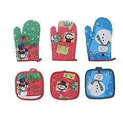 Idea Regalo - OUNONA Guanti Forno e Presine Resistente al Calore Antiscivolo con Pupazzo di Neve di Natale Rosso Verde Blu 6 Pezzi