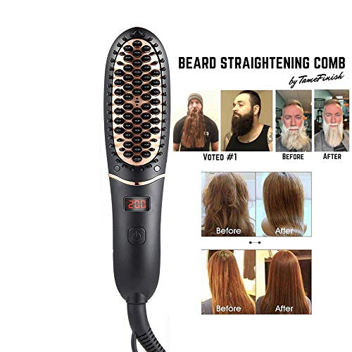 DokFin Beard Straightener, Professional Quick Hair Straightening Brush, Anti-Scald Ceramic Ionic Curly Hair Straightening Comb for Men Women Home Travel, Wet and Dry Hair Dual Use (Wet Iron Hair Flat)