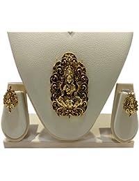 Ratnatraya Goddess Maha Laxmi Heavy Pendant And Ear Tops | Traditional Stylish Ethnic Jewellery For Girls And...