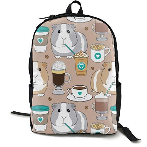 Guinea-pigs-and-coffee Beans Teal On Brown Adult Premium Travel Backpack, Water-Resistant College School Bookbag, Sport Daypack, Outdoor Rucksack, Laptop Bag for Men&Women