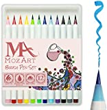 Brush Pens Set - 12 Colours - Soft Flexible Real Brush Tip, High Quality, Create Watercolour Effect - Best for Adult Colouring Books, Manga, Comic, Calligraphy - Dual Thickness - MozArt Supplies