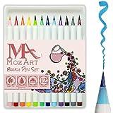 Colouring Brush Pen Set - 12 - Colores suave flexible de bienes la punta del pincel , de alta calidad , Crear Efecto de acuarela - Lo mejor para adultos para colorear Libros, manga, cómico , caligrafía - Espesor de doble - MozArt Supplies