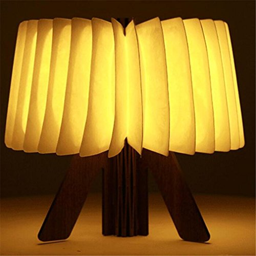 LUCKY CLOVER-A Tischlampe Kleine Nachtlicht Neue Buch Licht Kreative Klapp Led Holz USB Home Holiday Neuheit Geschenk Weihnachten Umwelt Tragbare (Messing-papier-tischleuchte)