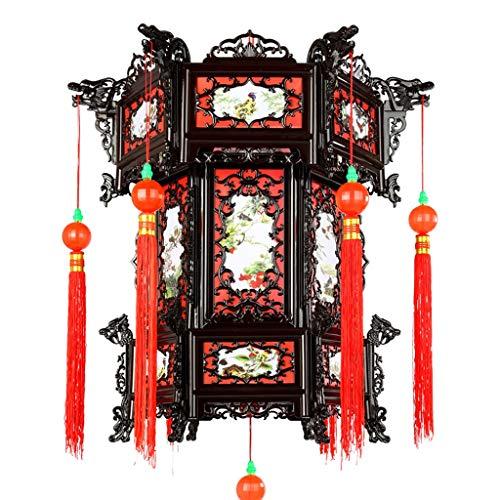 Zoe home Chinesische Laternen, Antique Palace Licht Hexagonal Imitation Holz Kunststoff Laternenfest Feier Dekor Balkon Ferien Hängen Laterne Kronleuchter (Größe : Large)