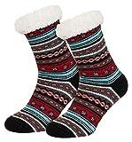 Piarini 1 Paar Kuschelsocken mit ABS Sohle | warme Damen Socken | Wintersocken mit Anti Rutsch Noppen | Ethno- Schwarz (One-Size)