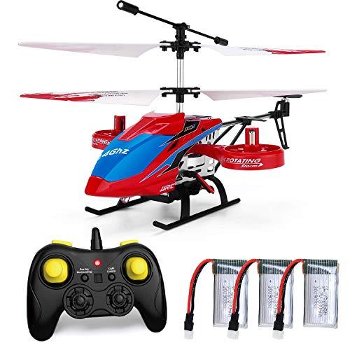 JJRC RC Hubschrauber mit Fernbedienung, JX02 Hubschrauber 4 Kanal mit Seitenpropellern für Fly Sideway Höhe halten mit 3 Batterien in 18 Minuten Crash Resistancec Spielzeug Hubschrauber Geschenk (Rot)