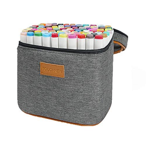Hbwz 40 Farben Dual Tips Permanent Marker Pens Art Marker für Kinder mit Tragetasche zum Zeichnen Skizzieren Adult Coloring Hervorheben und Unterstreichen,Clothingversion - Flipchart-tragetasche