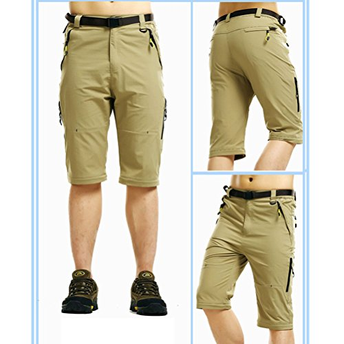 Zhhlaixing abbigliamento sportivo Mens Summer Thin Comfortable Waterproof Quick-dry Shorts Convertible Trousers Khaki