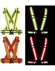 Chaleco / Arnés / Babero BTR DE FÁCIL AJUSTE NARANJA fluorescente y reflectante para correr, hacer ciclismo o para actividades nocturnas / con poca luz. ¡Sea VISTO!!! Talla ÚNICA que se ajusta a todos