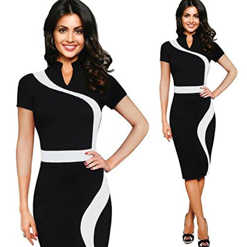 Kleider Viktorianischen Billig (Rcool Frauen Jahrgang Business Mandarin Kragen Kleid Party Bleistift Etuikleid (L,)