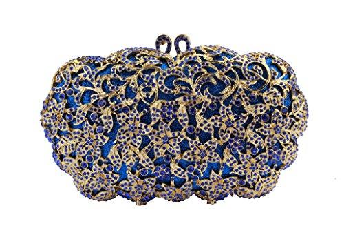 Yilongsheng femmes luxe cristaux Strass Fleur soirée Sac pour mariage bleu