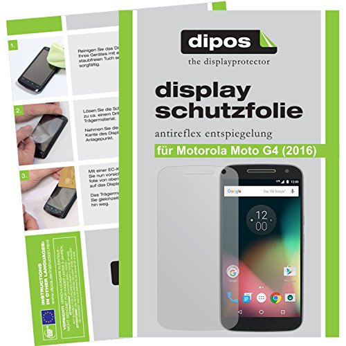 dipos I 2X Schutzfolie matt passend für Motorola Moto G4 (2016) Folie Displayschutzfolie Motorola Screen 3