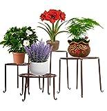 Étagère de Pots de Fleurs Plantes Jardinière Tabouret en Métal Fer Forge Bronze 4Pcs-Dazone®...