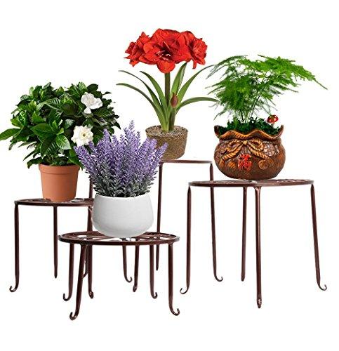 Étagère de Pots de Fleurs Plantes Jardinière Tabouret en Métal Fer Forge Bronze 4Pcs-Dazone®