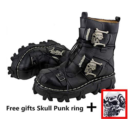 Herren Martin Stiefel Aus Echtem Leder Wasserdicht High Boot Armee Stiefel Gothic Schädel Punk Motorrad Steampunk Schuhe Martin Western Cowboy Stiefel Uniform Stiefel,Black,42