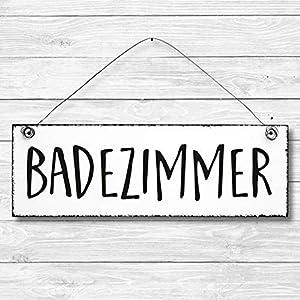 Badezimmer – Dekoschild Türschild Wandschild aus Holz 10x30cm – Holzdeko Holzbild Deko Schild