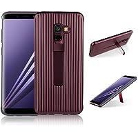 para Samsung Galaxy A7 2018 Case, HengJun TPU + PC Draw Bar Horizontal Vertical Diseño Creativo 2in1 Soporte de Soporte Seismic Anti-Shock Doble Funda Protectora para Samsung Galaxy A7 2018 - Marrón