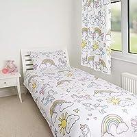 Zappi Co Unicorn Design Bedding Set Childrens Girls Reversible Toddler Bed Duvet Cover and Matching Pillowcase