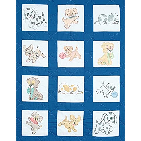 Jack Dempsey 9x 9-Inch Cachorros con sello blanco Vivero Quilt Blocks, 12unidades)