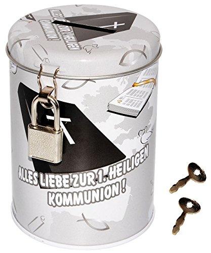 Spardose / Schatzdose -  Alles Liebe zur 1. heiligen Kommunion !  - mit Schlüssel - stabile Sparbüchse aus Metall - katholische Kirche / Erstkommunion / Sak..