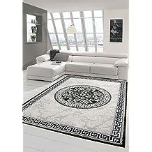 Moderner Teppich Designer Orientteppich Mit Glitzergarn Wohnzimmer Bordre Und Kreismuster In Grau Anthrazit