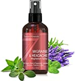 Spray Soulagement des Migraines & Maux de tête, au Magnésium et aux huiles essentielles. 100 % Naturel et Organique- Fabriqué aux USA- Guide gratuit inclus. (4fl oz/120ml)