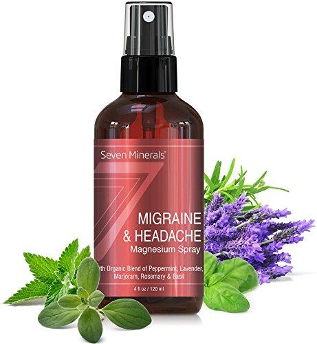 Aerosol de Magnesio para la Migraña y el Dolor de Cabeza - 100% natural y orgánico - Hecho en EE.UU. - Guía gratuita incluida (4 fl oz / 120 ml)