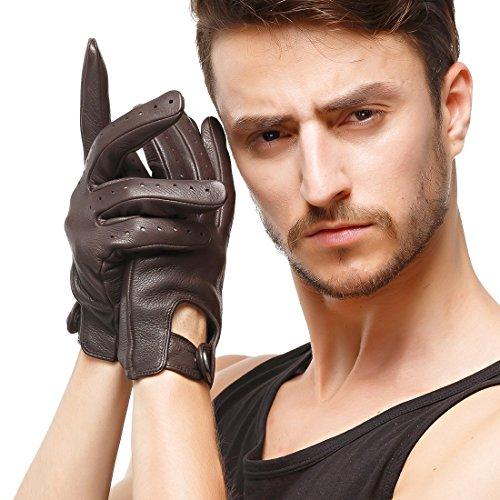 Nappaglo Herren Hirschleder Touchscreen Handschuhe Lederhandschuhe für fahren Motorrad Radfahren Ungefüttert Handschuhe (L (Umfang der Handfläche:21.6-22.8cm), Dunkelbraun(Touchscreen))