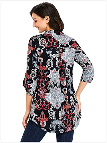 szivyshi Manches 3/4 Rolled Sleeve Stand Col Encolure en V Ourlet Plongeant Baroque Ethnique Tribal Imprimé Blouse Chemisier Shirt Chemise Haut Top Noir Floral