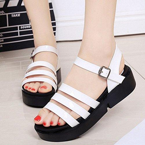 TAOFFEN Damen Fashion Open Toe Ankle Strap Shoes Slingback Chunky Heels Sandalen Weiß