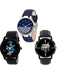 The Shopoholic Silver Black Combo New Collection Black And Blue Dial Analog Watch For Boys-Mens Fashion Watch-Combo...