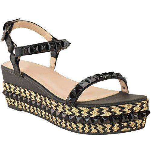 donna borchiato zeppa bassa espadrillas sandali forma piatta Scarpe con cinturino taglia Ecopelle Nera