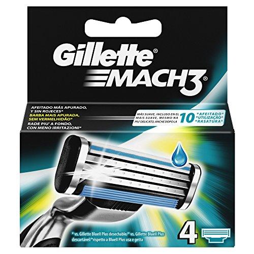 Gillette Mach3   Cuchillas de recambio de maquinilla de afeitar   4 unidades