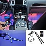 BRTLX Striscia Led Interni per Auto con 2 x 12 LEDs RGB,Suona la Funzione Attivata,Vari Colori Controllo Telecomando Luci abitacolo auto 12V per Decorative Interne