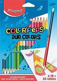 Maped Color'Peps Crayons de Coloriage en Bois 2 en 1 Duo de Couleur - Etui de 18 Crayons de Couleurs Doubl