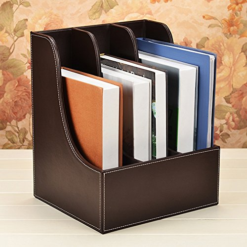Leder Büro Desktop Supplies File Holder/Book Rack Box/Dokument Aufbewahrungsbox/Block Box/Ordner Kreativ Set (Farbe : Braun, größe : 29*25.5*35cm) Brown-leder-bücherregal