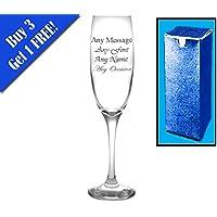Flute da champagne con incisione personalizzata 21st regalo di compleanno anniversario di matrimonio