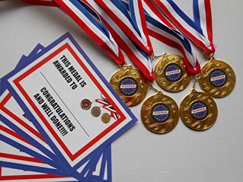 winner-medals-set-of-5-with-ribbon-and-certificate-50mm-metal-choose-from-gold-silver-or-bronze