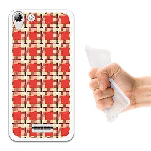 WoowCase Wiko Selfy 4G Hülle, Handyhülle Silikon für [ Wiko Selfy 4G ] Rechteck Schottenkaro Material Handytasche Handy Cover Case Schutzhülle Flexible TPU - Transparent