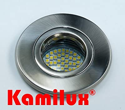 SMD LED Feuchtraum Einbauleuchte Badspot Farbe edelstahl-gebürstet AQUA IP65 60er LED Leuchtmittel - WARMWEISS 230V von Kamilux GmbH
