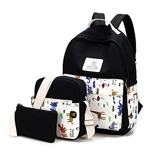 YiLianDa Donna Zaino Di Tela Zaino Ragazza Borsa Backpack Women Schoolbag 3 in 1 Nero