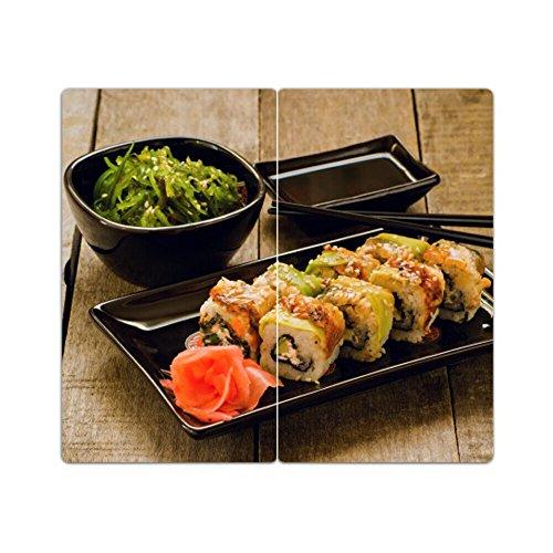 DEKOGLAS Herdabdeckplatten Set inkl. Noppen aus Glas 'Sushi', Herd Ceranfeld Abdeckung, 2-teilig universal 2x 52x30 cm Sushi Glas
