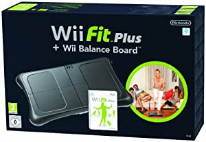 nintendo wii fit plus with balance board black wii pc video games. Black Bedroom Furniture Sets. Home Design Ideas