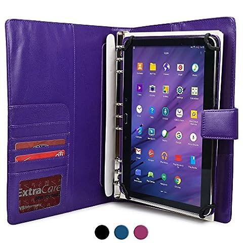 Plum Ten 3G Étui avec bloc-notes, COOPER FOLDERTAB portefeuille pour business, voyage, de luxe en cuir synthétique, de transport avec étui de protection, bloc-notes de papier et poche pour carte (Violet)